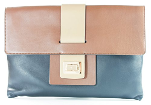 Anya Hindmarch , Damen Clutch braun Braun/Blau (Clutch Anya Hindmarch)