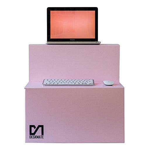 ergonomisch, für Schreibtisch-Arbeitsplatznutzung, zusammenklappbar und tragbar, 2-stufiges Design, funktioniert mit Laptop, PC-Monitore, Tastaturen für den unteren Rücken rose ()