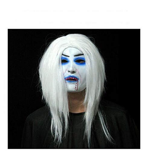 JIE Ghost Festival Halloween Maske Maskerade Maske Party Supplies Requisiten Weißes Haar Hexe Maske,Blutung,Einheitsgröße