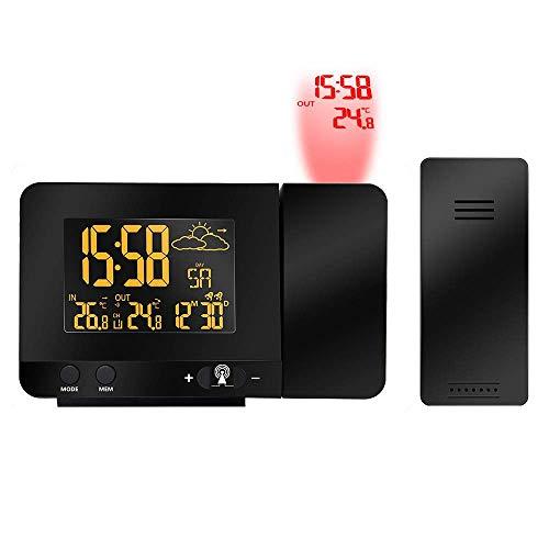 DQAC Wecker- Digitaler Projektionswecker, Indoor-Outdoor-Thermometer, USB-Ladegerät, VA-Bildschirm HD-Dual-Wecker für Schlafzimmer