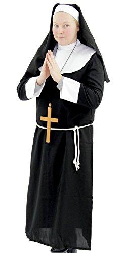Deluxe Damen Nonnen Kostüm Kirche Nonnen KOSTÜM Kloster Klosternonne Gr. M - XXXXL, Größe:XXL