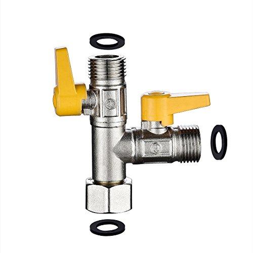 CIENCIA 3 Wege Umschaltventil Stück T-Stueck G 1/2 Messing T-Adapter für Duschschlauch Absperrventil Dusche Gebürstetes Nickel, DSF009