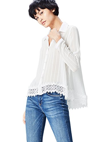 FIND Bluse Damen mit Spitzensaum, Streifenmuster und kastenförmiger Silhouette, Elfenbein (Cream), 42 (Herstellergröße: X-Large)
