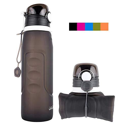 iKiKin Faltbare Wasserflasche, Silikon Faltbare Trinkflasche, 1000ml BPA frei, Lecksichere Faltbare Sportflasche für Sport, Outdoor, Reisen, Camping (Schwarz)