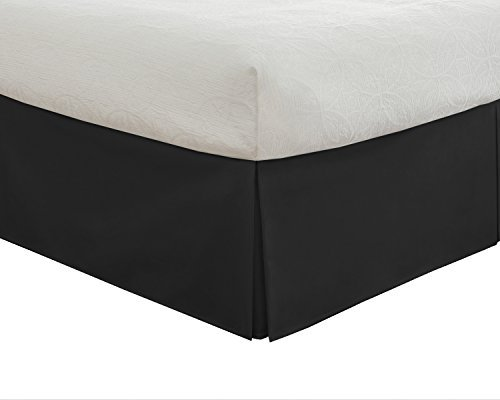 Pleated Drop (Lux Hotel Bedding Tailored Bed Skirt, Classic 14 Drop Length, Pleated Styling, Cali King, Black by Lux Hotel)