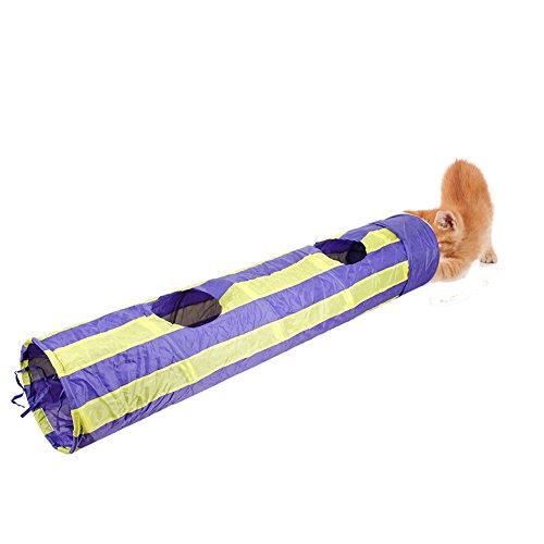 Faltbare Stripe Katzentunnel Katzenangel Katzenspielzeug (Violett)