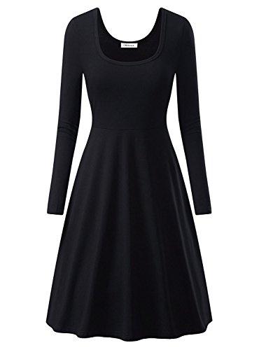 Baumwoll-basics Kleid (OhSeaya Damen Einfache Beiläufiges Langarm Basic Kleider Falten Stretch Freizeitkleid Knielang BKS557-BLM)
