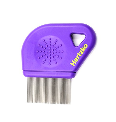 Long Teeth Flea Comb by Hertzko - Closely Spaced Metal Pins Removes Fleas, Flea Eggs and Debris, from Your Pet's Coat - 25mm Long Metal Teeth are Great for Long Hair Areas on Dogs and Cats