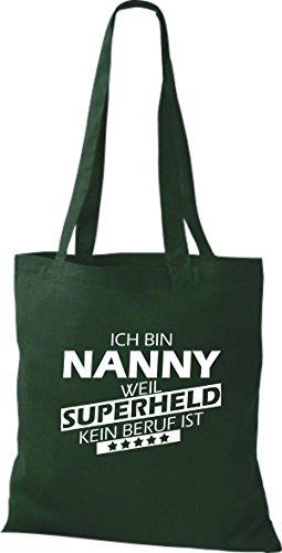 Shirtstown Stoffbeutel Ich bin Nanny, weil Superheld kein Beruf ist Grün