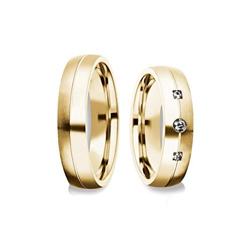Eheringe Trauringe Gold Set AMOONIC mit SWAROVSKI Zirkonia Freundschaftsringe Paarpreis Verlobungsringe Partnerringe Silber hochwertig vergoldet Ringpaar Hochzeitsringe Eheringe 5mm FF373VGGGZIFA (14k Gold Plattiert Trauringe)