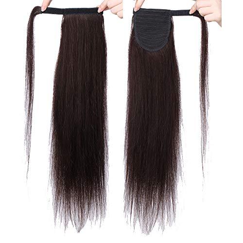 Silk-co Pferdeschwanz/Zopf Extensions Echthaar Clip in Ponytail #02 Dunkelbraun - Extensions Echthaar Haarteil Haarverlängerung Glatt 80g 40cm