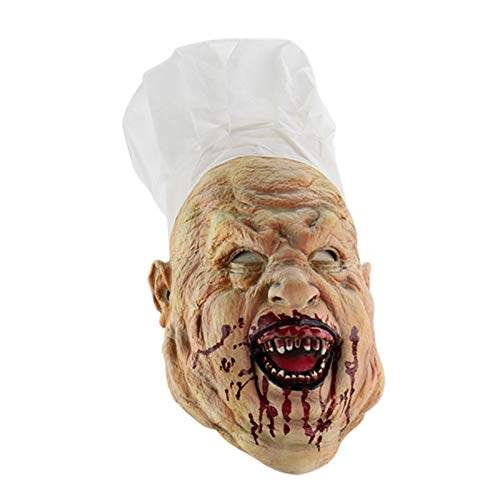 Aztekische Kostüm Halloween - Macxy - Festival Party Supplies Halloween Latex Maske Horrifying Maske Latex Maske mit Hut für Maskerade-Halloween-Kostüm-Bar Realistische [G]