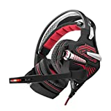 CCYOO Gaming Headset, Wired Stereo Musik Kopfhörer Surround Sound Spiel Kopfhörer W/Kopfhörer Mic LED-Licht Für Gamer,Red