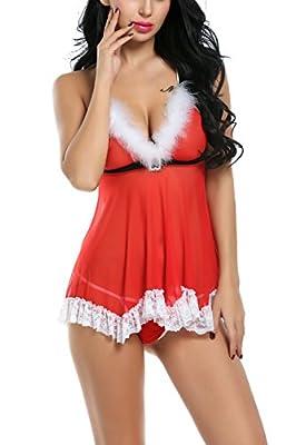 CRAVOG Women's Sexy Lingerie Lace Babydoll Dress Christmas Sleepwear Chemises