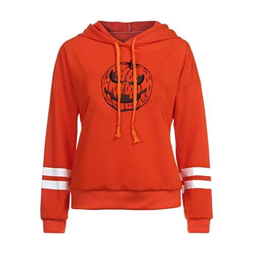 UFACE Frauen Halloween Kürbis Sweatshirt Pullover Halloween Kürbis Print Langarm Sweatshirt Pullover Tops Bluse Shirt(Orange3,L)