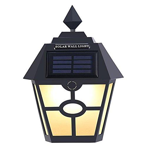 XHD-LED Garten-Zaun-Treppen-Lampe im Freien wasserdichte Retro- LED-Sonnenkollektor-Hexagon-Wandleuchten ( Color : Black ) (Lighting Im Freien Spotlight)