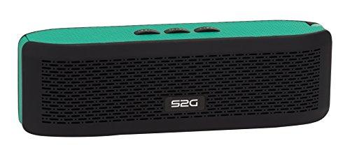 S2G FRESH Bluetooth Stereo Lautsprecher, FM Radio, USB, Micro SD, Spritzwassergeschützt, Freisprecheinrichtung, Kamera Auslöser, Karabiner, Griffig, Outdoor, Indoor - Grün/Schwarz