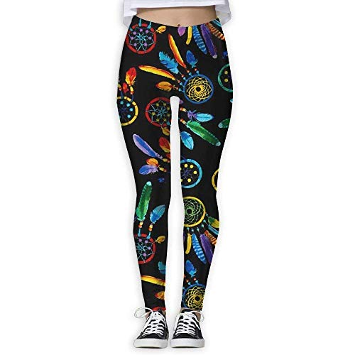 Deglogse Yogahosen, Trainingsgamaschen,Color Dreamcatcher Womens High Waist Yoga Pants Yoga Capris Pants Casual Workout Leggings Capris