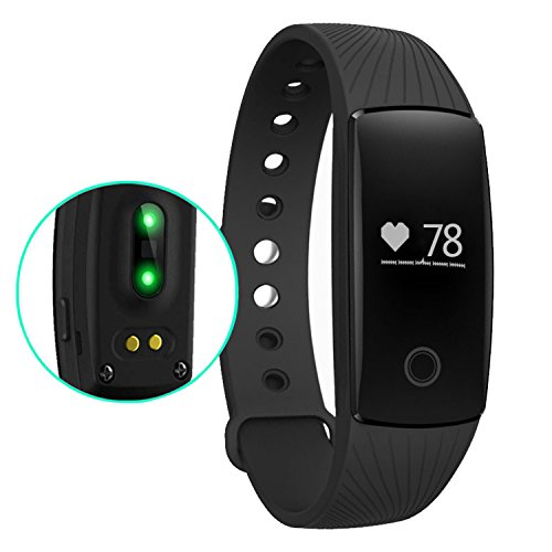 Amytech Fitness Tracker Braccialetto Monitoraggio Battito Cardiaco e Attività Fisica Cardiofrequenzimetri Pedometri Activity Tracker,Nero