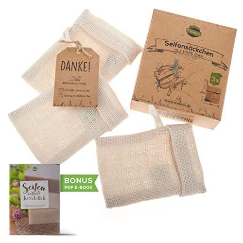 TreeBox Zero Waste Seifensäckchen aus Jute mit Kordel aus Baumwolle - 3er Set - Besonders praktischer Klappverschluss - Perfekt für Seifen und Seifenreste -