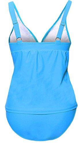 confit you - Damen Tankini mit gefütterten Cups und lockerem Oberteil , XS-3XL, Viele Farben Hellblau