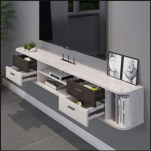 Regal Wand-TV-Schrank Moderne schwimmende TV-Ständer Konsolenmöbel TV-Halterungen TV-Baugruppenträger Media Console Entertainment Center for Blu-Ray-Player Videospielkonsolen Kabelboxen Lautsprecher (Bücherregal Entertainment-center)