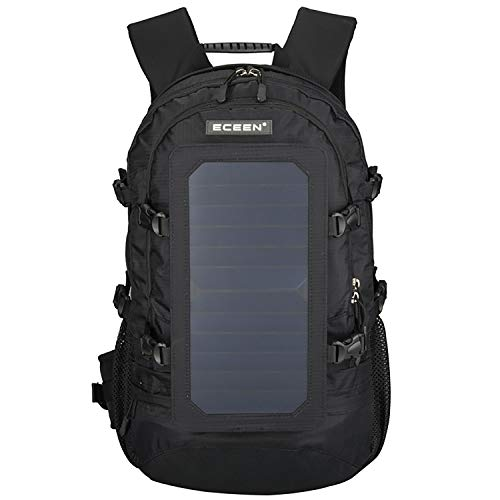 ROWERR Solar Backpack-Waterproof Anti-Theft Solar Power Fast Charging Camping & Hiking Daypack mit 6,5W Solar Panel Charger für Smart Cell Phones und Tablets, GPS, Powerbank, Bluetooth Speakers,Black