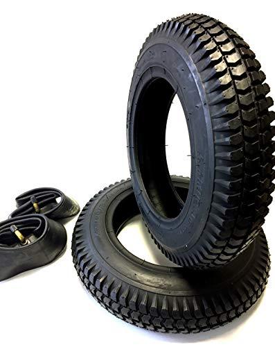 Rollstuhlreifen 2 Stück 3.00-8, schwarz + 2 Stück Schlauch Winkelventil, Reifen kräftiges Blockprofil, Stabiler 4 PR Reifenaufbau, Rollstuhl Reifen für Elektromobil, Scooter, E-Rollstuhl