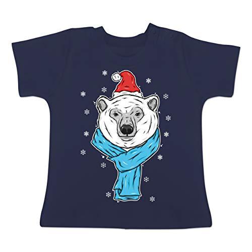 Tiermotive Baby - Eisbär mit Mütze und Schal - 12-18 Monate - Navy Blau - BZ02 -...