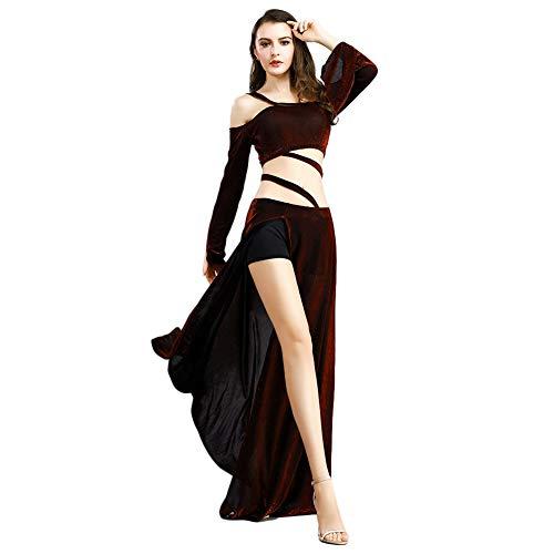 nz Kostümanzug für Frauen Bauchtanz Tops und Rock Set Lange Ärmel ab Schulter Crop Tops Slit Maxi Röcke Übungskleidungskleidung ()
