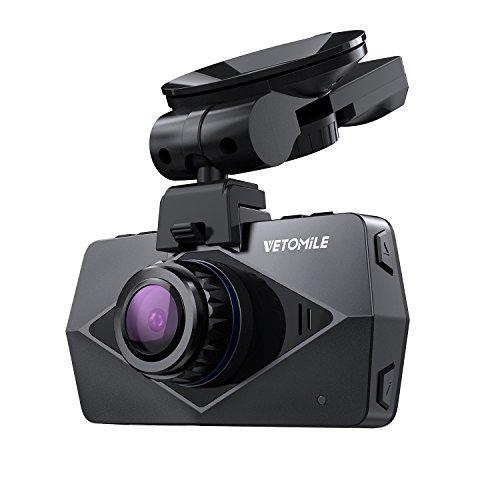 VETOMILE V2 - Autokamera Dashcam mit Super Nachtsicht ( 170° Weitwinkelobjektiv, Ultra FHD 1440p @30fps, 1080P @60fps, 2,7 Zoll Bildschirm, GPS, WLAN, G-Sensor, Parkmonitor, Loop-/ Notfallaufnahme ) (Automatische Sperre Wifi)