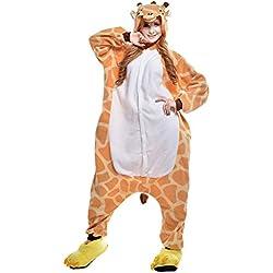 JINZFJG Pijamas Siameses de Franela Dibujo Animado Hombre/Mujer Pijama Disfraz Cosplay, Jirafa, M(Altura:160-169cm)