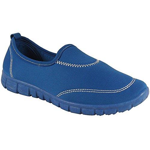 Loudlook Nuove Signore Donne Slip On Ragazze Piatto Walking Jogging Addestratori Running Scarpe Dimensione 3-8 Blue