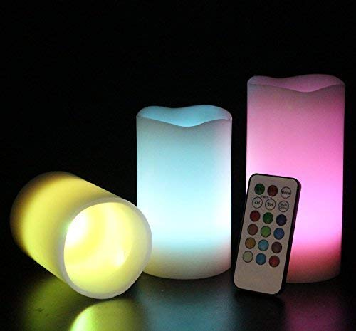 LED Velas decorativas de 12 colores con mando, set de 3 unidades de 7, 11 y 14.5 cm