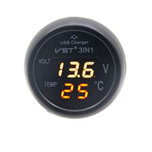 RKURCK - Cargador USB voltímetro termómetro toma