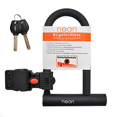 Nean - Candado para Bicicleta con Soporte y 2 Llaves de Seguridad 12 mm de diámetro, 207 x 138 mm...