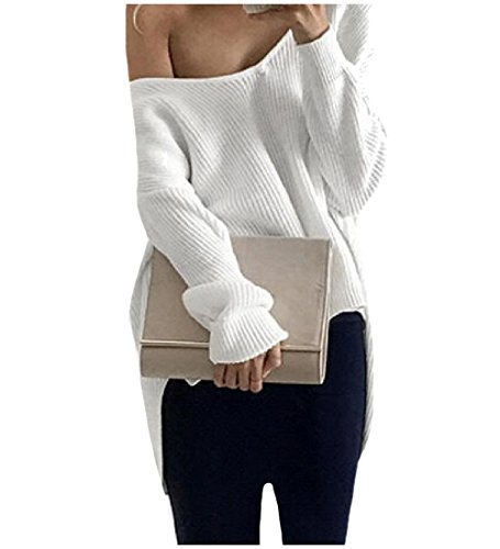 Tootlessly Women's Fall Winter Knitted Long Sleeve Off-Shoulder Sweater