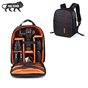 SMILEDRIVE® Waterproof DSLR Backpack Camera Bag, Lens Accessories Carry Case for Nikon, Canon, Olympus, Pentax & Others-Made in India