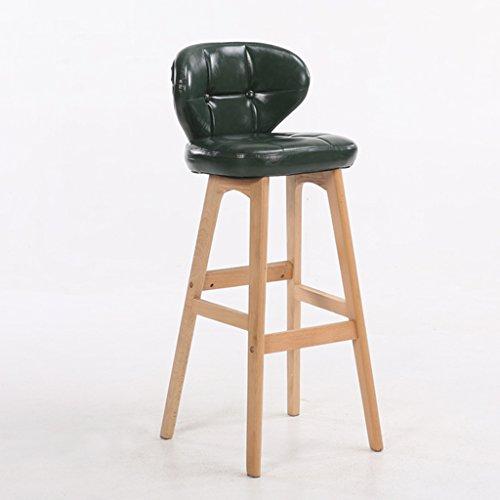 Guo shop- Minimaliste, bois massif, cuir artificiel coussin bar réception européenne chaise en bois banc vintage tabouret de bar hauteur 78cm Bonne chaise (Couleur : Vert, taille : B)