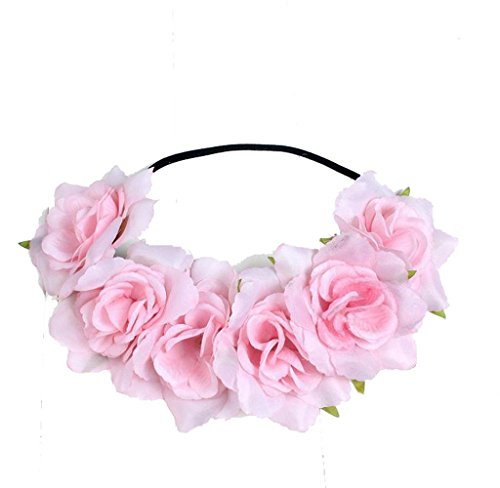 Malloom Large Rose Flower Forehead Hair Headband Hair Crown Summer Festival Garland (pink)