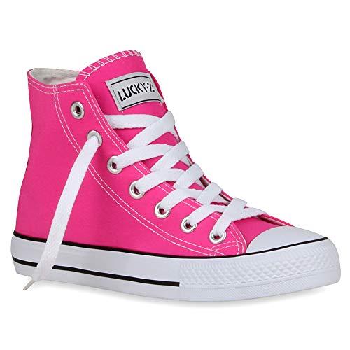 Damen Sneakers Muster Camouflage Damen Glitzer Turn Sneaker High Schuhe 53097 Neonpink 37 Flandell