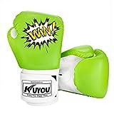 Kinder Boxhandschuhe 4oz Kinder Cartoon Sparring Boxhandschuhe Training Mitts Junior Punch PU Leder Alter 5–12 Jahre (grün)