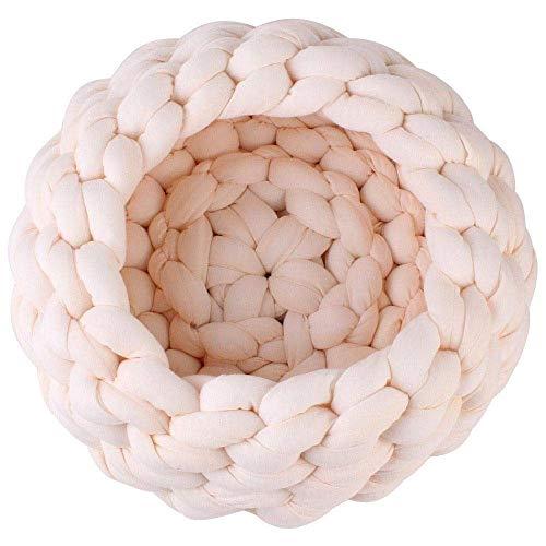 CHONGWFS Runde Dicke Baumwolle Stricken weiche warme Baumwolle Plüsch Nest Haustier Hund Katze Bett für Puppy Cushion Couch Winter warmes Bett (Color : B, Size : 30cm) -