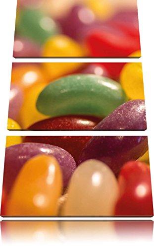 Confiseries Jelly Belly Beans 3 pièces image toile 120x80 image sur toile, XXL énormes Photos complètement encadrées avec civière, art impression sur le cadre mural gänstiger la peinture ou une peinture à l'huile, pas une affiche ou une bannière,