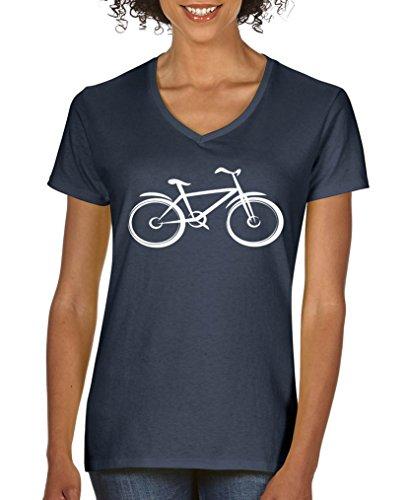 Comedy Shirts - Fahrrad - Damen V-Neck T-Shirt - Navy / Weiss Gr. XL