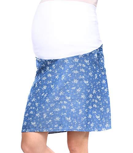 MijaCulture - Umstandsrock für den Sommer/Sommerrock mit Blumen 7123 A (EU42 / XL, Blau/Blumen) - Maternity Bleistiftrock