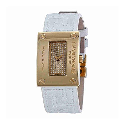Versace oro diamond-Set blanco cuero correa Damas Reloj 72Q00SD91F-S001