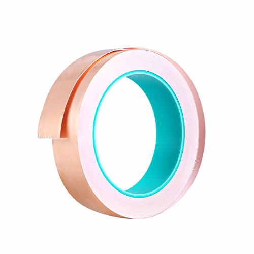 UKCOCO Cinta de lámina de cobre con adhesivo conductor EMI Blindaje adhesivo de doble cara para vidrios de colores/circuitos de papel/reparaciones eléctricas 15 mm x 20 m