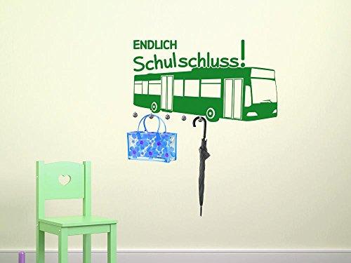 graz-design Wandtattoo Garderobe inkl. 5 Wandhaken für Kinderzimmer Endlich Schulschluss Bus (79x45cm//063 lindgrün//Haken 5Stück) (Endlich Tattoo)
