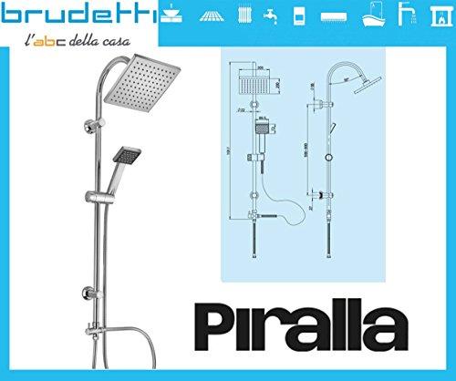 ⭐ piralla dries set colonna doccia saliscendi ⭐ soffione 20x20 tubo 97cm ad interasse regolabile con deviatore + doccetta ⭐